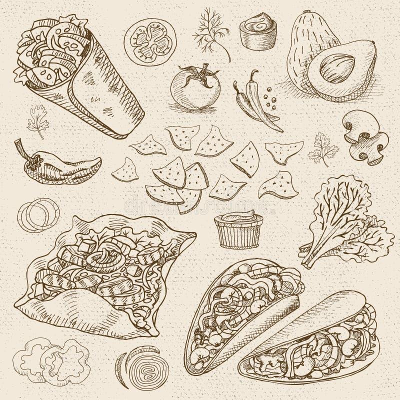 Set koloru kreda rysujący jedzenie, pikantność ilustracji