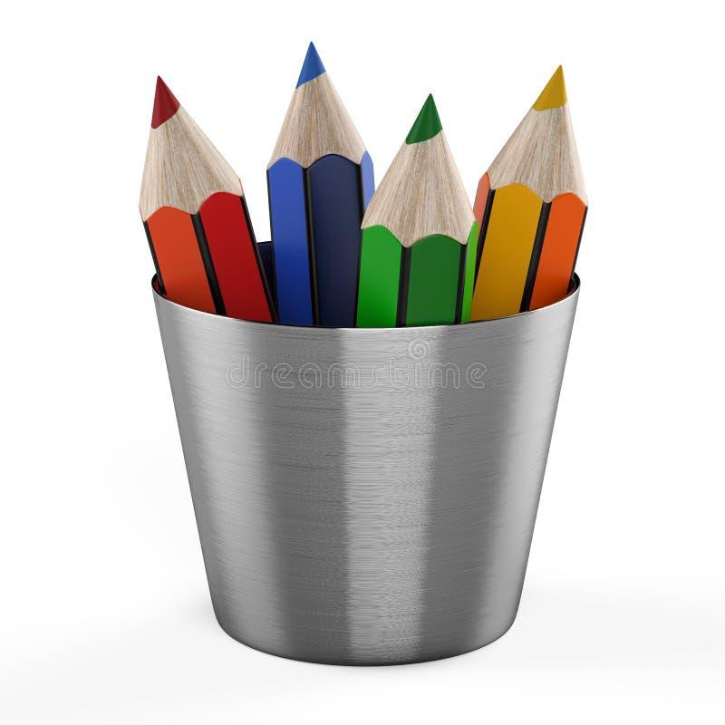 Set koloru ołówki w właścicielu odizolowywającym na biały b ilustracji
