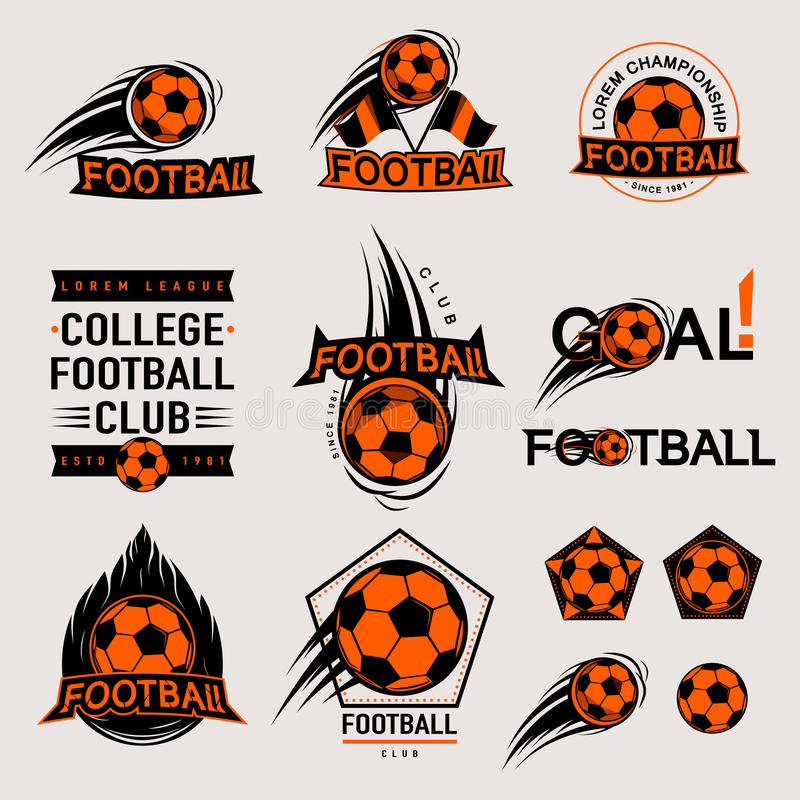 Set koloru rocznik, nowożytne i retro logo odznaki, przylepia etykietkę mecz futbolowego ilustracji