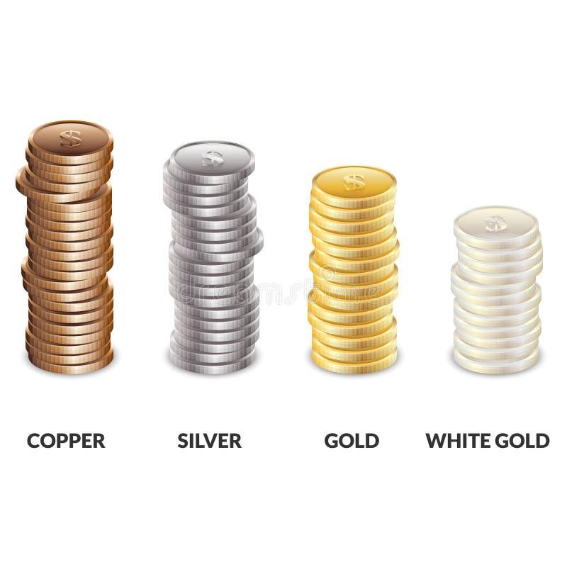 Set kolumny monety różni metale Bary groszaka, srebra i złota dolary, ilustracja wektor