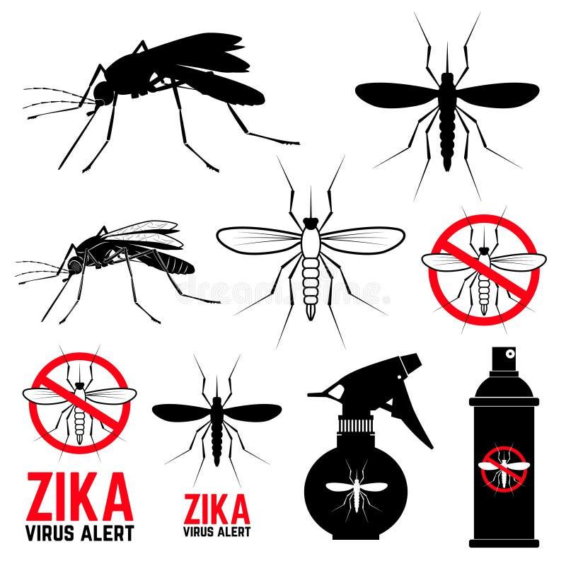 Set komar ikony Zika wirusa ostrzeżenie ilustracja wektor
