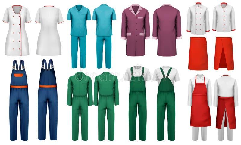Set kombinezony z pracownikiem i medyczny odziewamy ilustracja wektor