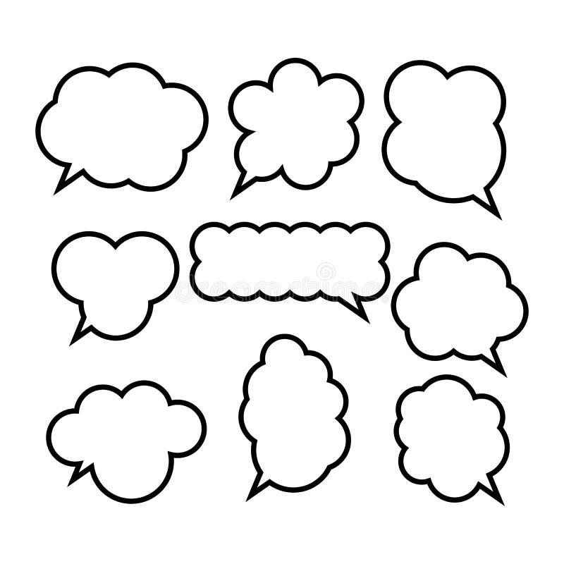 Set komische Spracheluftblasen stock abbildung