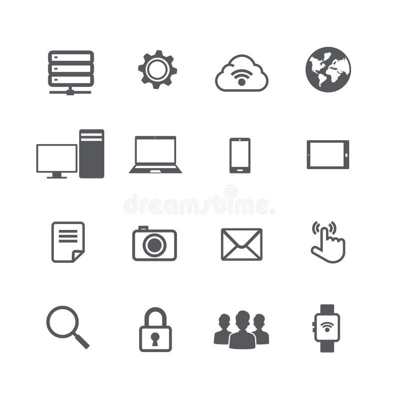 Set komputerowa i ogólnospołeczna sieć związku ikona na w ilustracja wektor