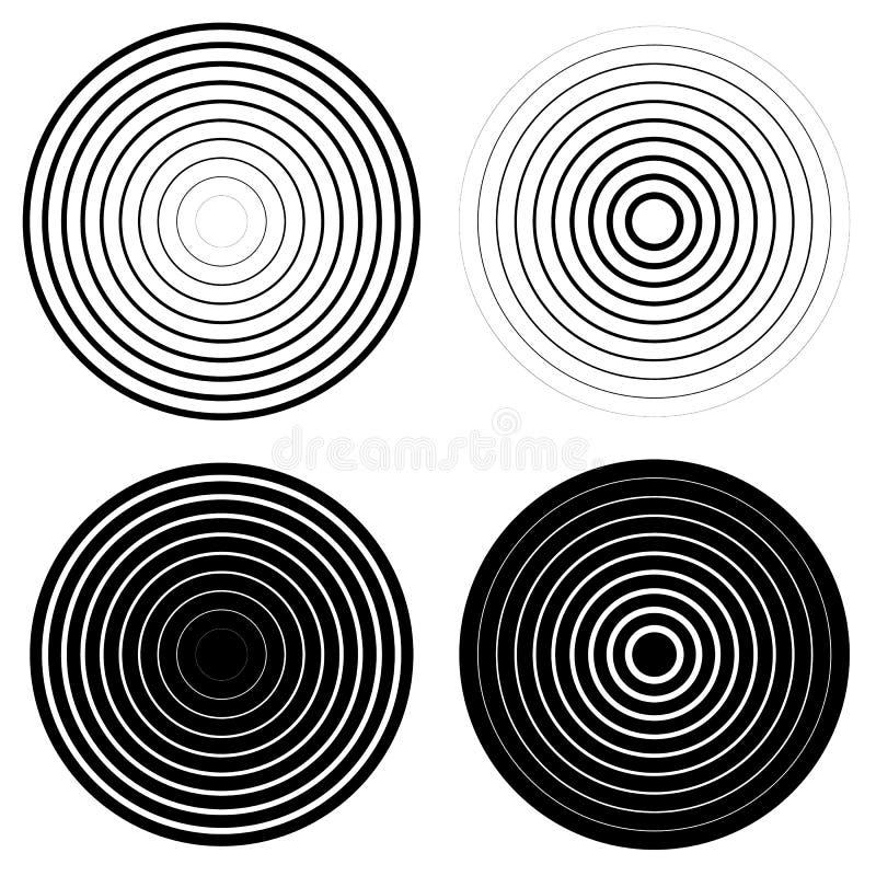 Set 4 koncentrycznego okręgu elementu Czochra, promieniuje okręgi ilustracja wektor