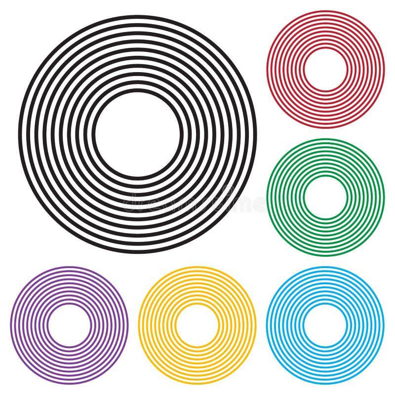 Set koncentrycznych okreg?w geometryczny element Czarna i kolorowa wersja wektor royalty ilustracja