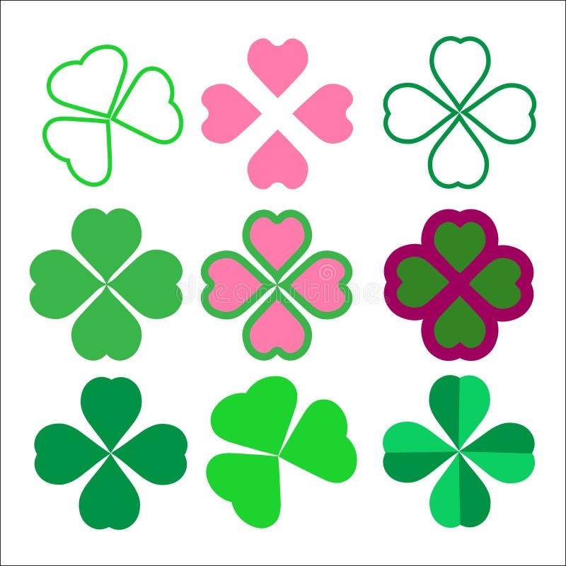 Set koniczynowi liście, symbol szczęście royalty ilustracja