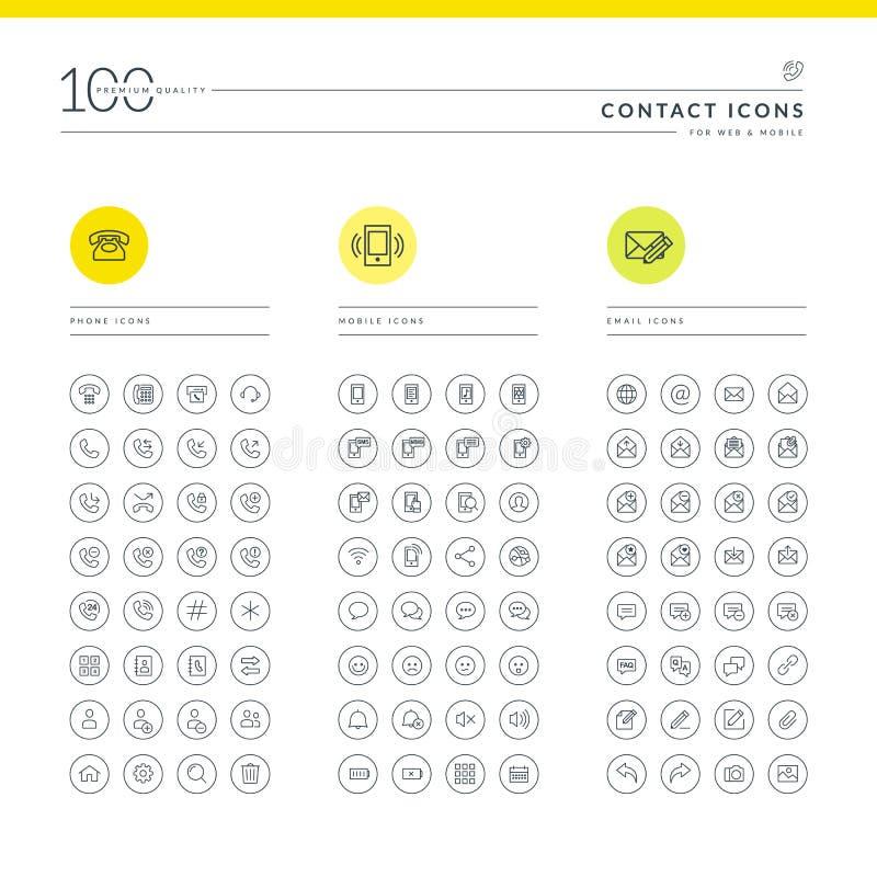 Set kontaktowe ikony ilustracji