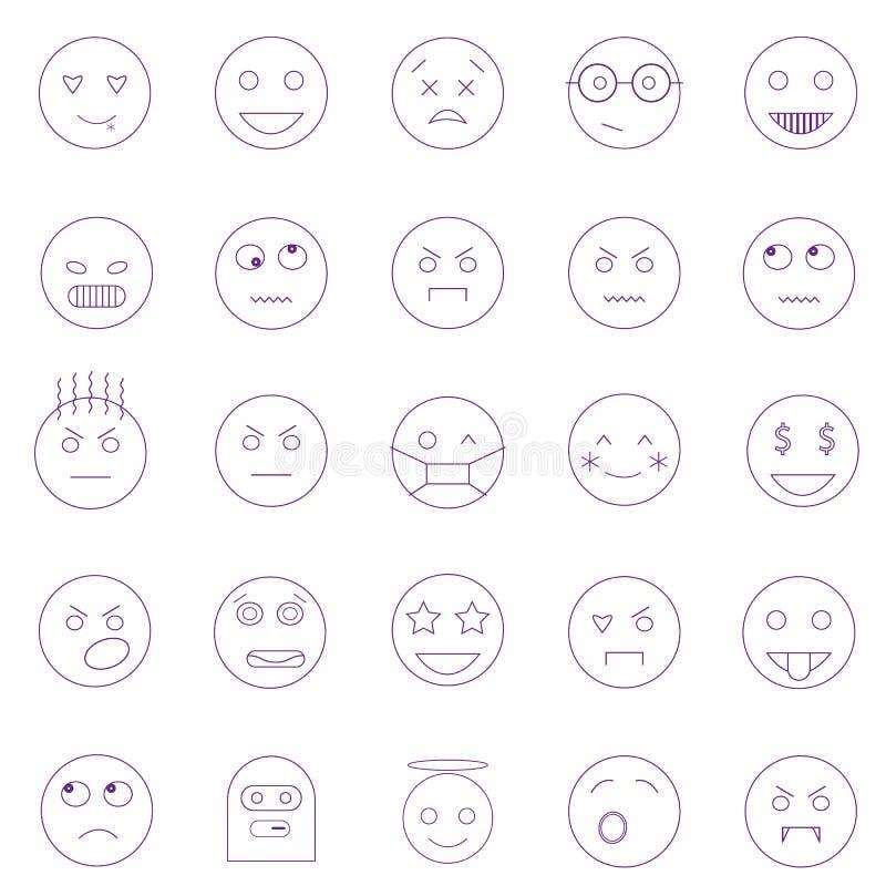 Set konturów emoticons, emoji odizolowywający na białym tle ilustracji