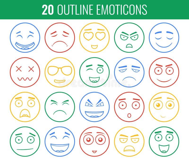 Set konturów emoticons, emoji odizolowywający na białym tle Emoticon dla strony internetowej, gadka, sms wektor royalty ilustracja