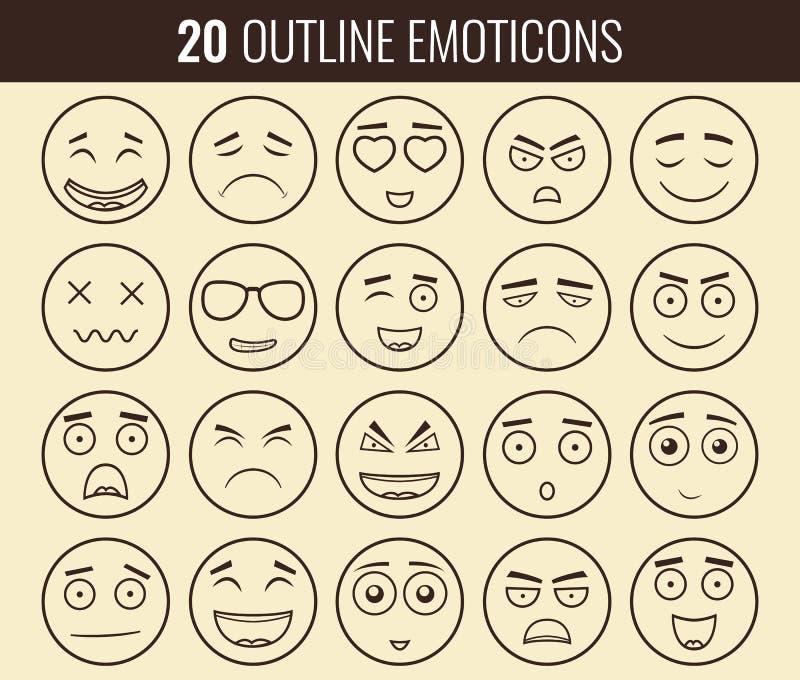 Set konturów emoticons, emoji odizolowywający na białym tle Emoticon dla strony internetowej, gadka, sms wektor ilustracja wektor