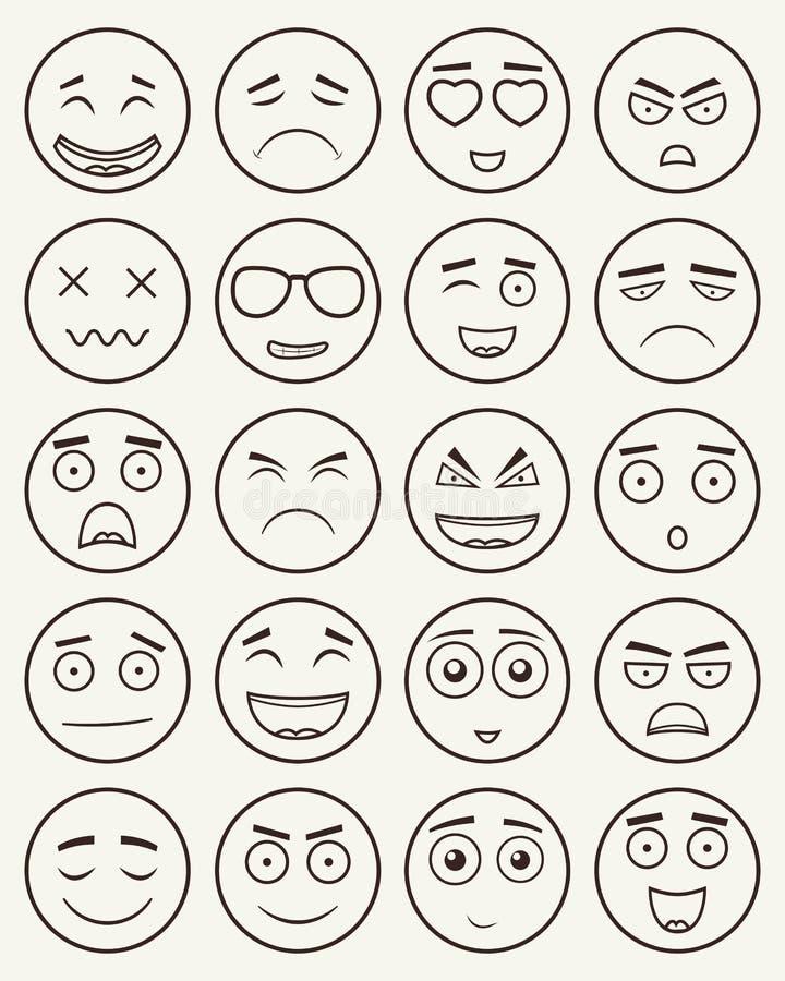 Set konturów emoticons, emoji odizolowywający na białym tle Emoticon dla strony internetowej, gadka, sms wektor ilustracji