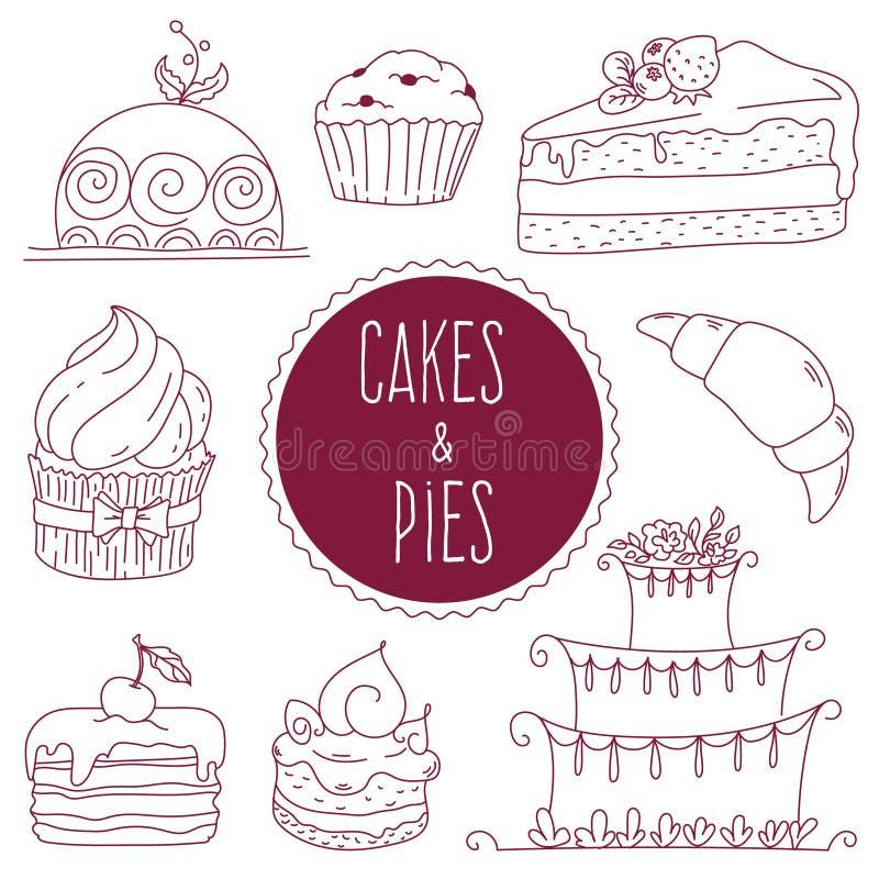 Set konturów torty i babeczki w stylu Doodle ilustracja wektor