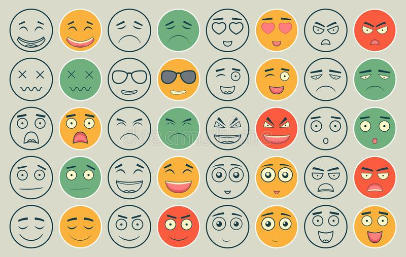 Set kontur i kolorowi emoticons ilustracji