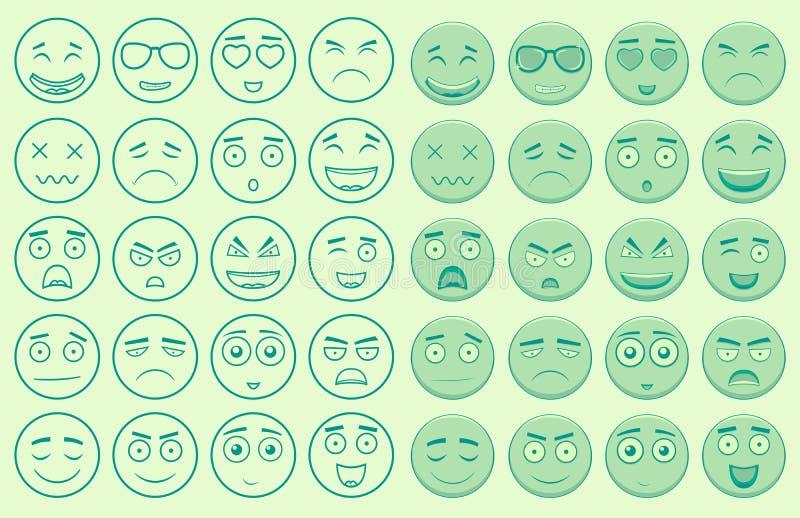 Set kontur i kolorowi emoticons royalty ilustracja