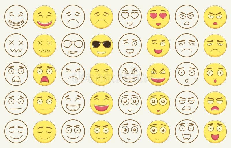 Set kontur i kolorowi emoticons, emoji odizolowywający na białym tle Emoticon dla strony internetowej, gadka, sms wektor ilustracji