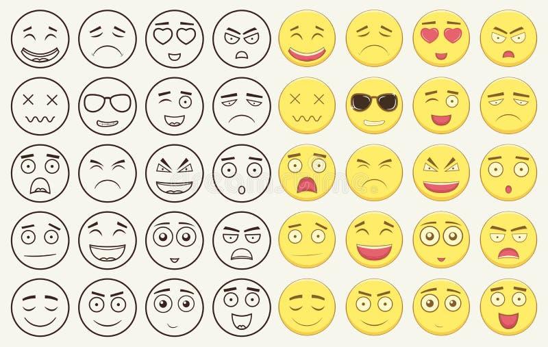 Set kontur i kolorowi emoticons, emoji odizolowywający na białym tle Emoticon dla strony internetowej, gadka, sms wektor royalty ilustracja