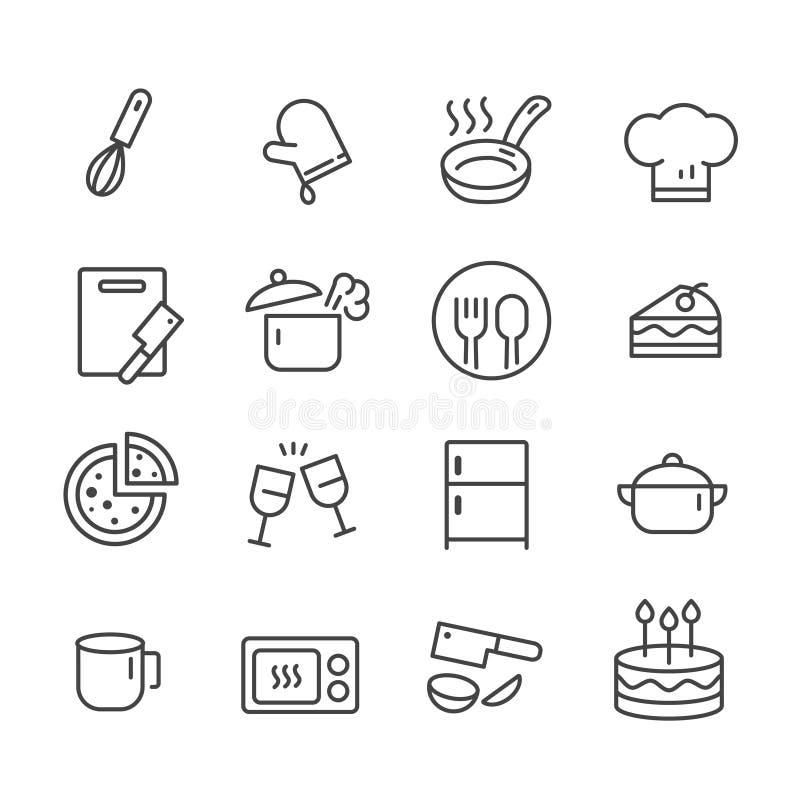 Set kontur ikony dla kuchni narz?dzi i kucharstwo na bia?ym tle royalty ilustracja