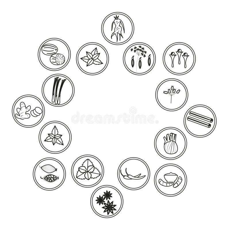 Set kontur ikony ziele i pikantność cynamon, gwiazdowy anyż i kardamon, ilustracja wektor