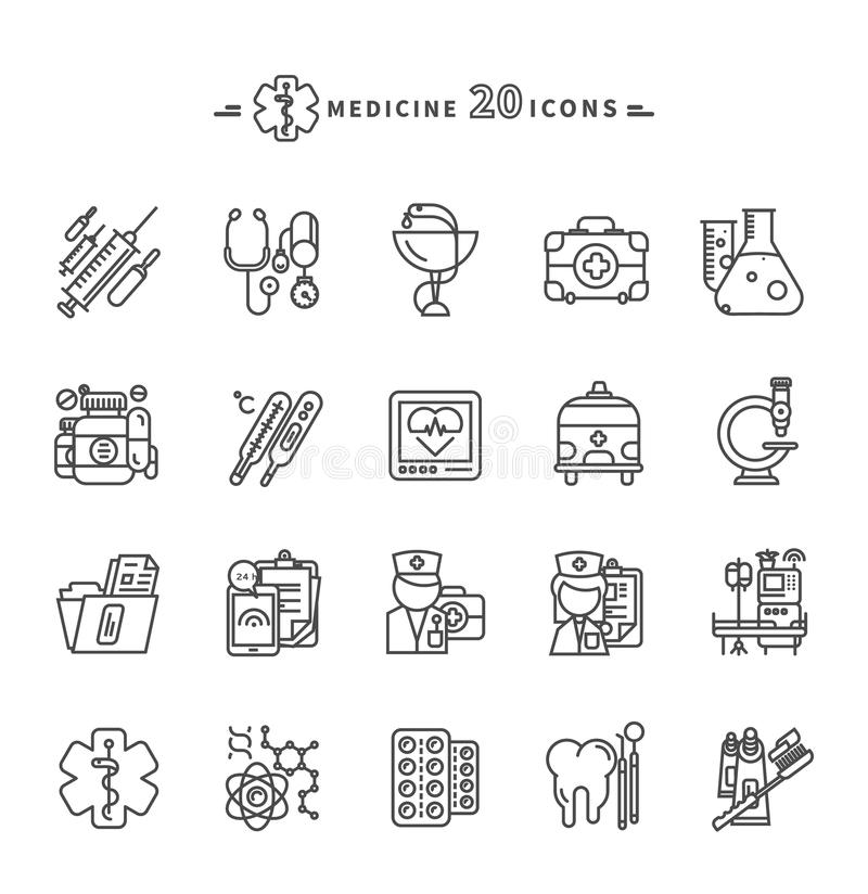 Set kontur medycyny ikony na Białym tle royalty ilustracja