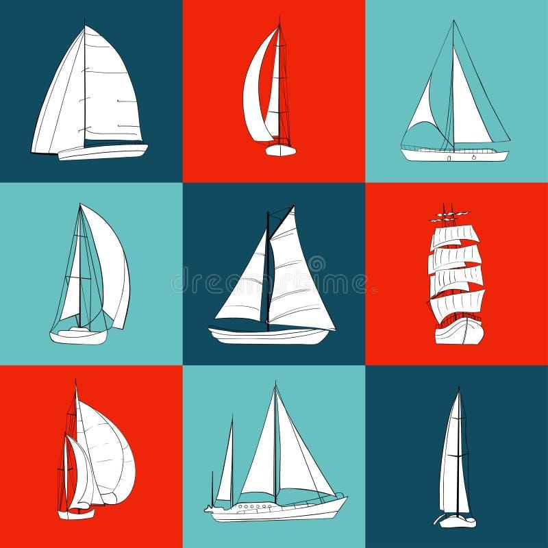 Set 9 konturowych żaglówek ilustracja wektor