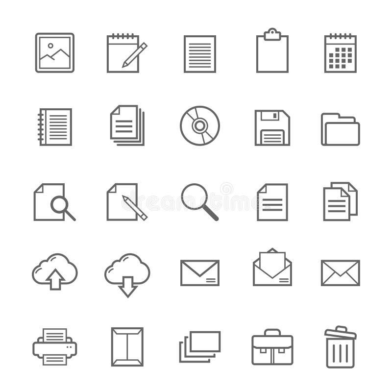 Set konturu uderzenia dokumentu ikona royalty ilustracja