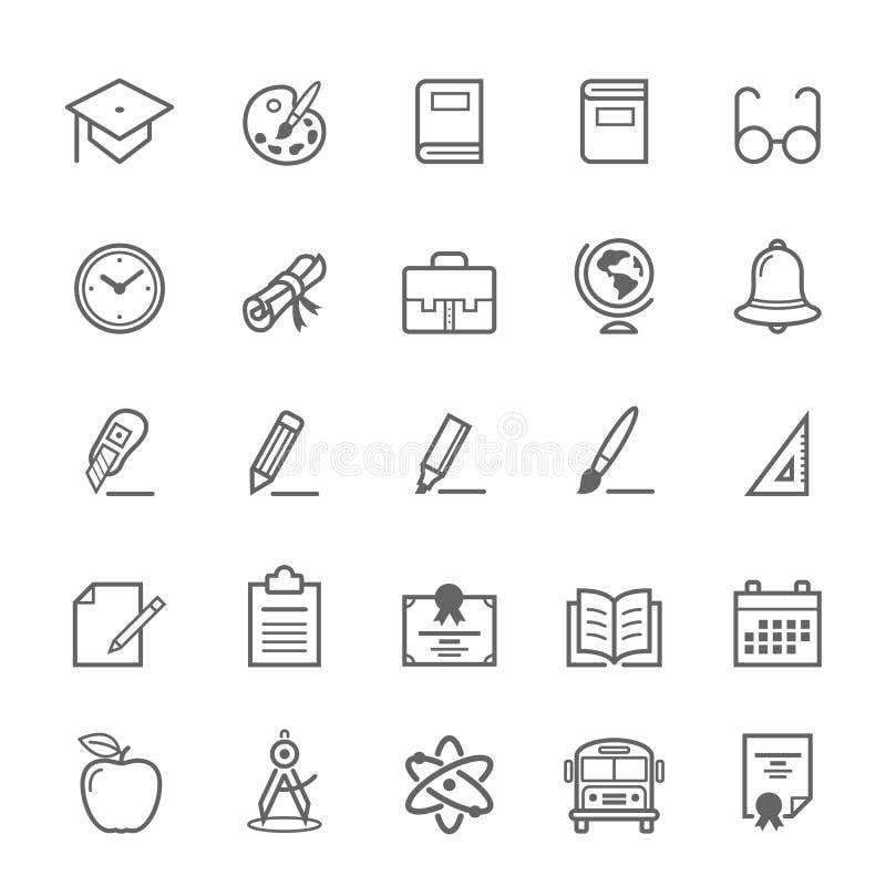 Set konturu uderzenia edukaci ikona ilustracji