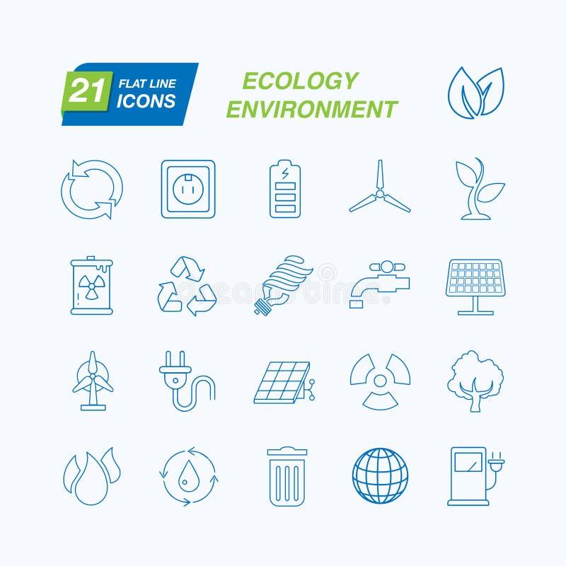 Set konturu uderzenia ekologii ikon wektoru ilustracja royalty ilustracja