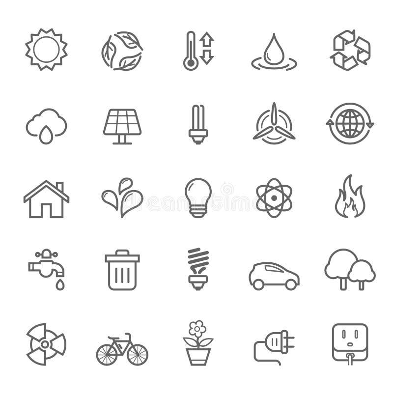 Set konturu uderzenia ekologii ikona