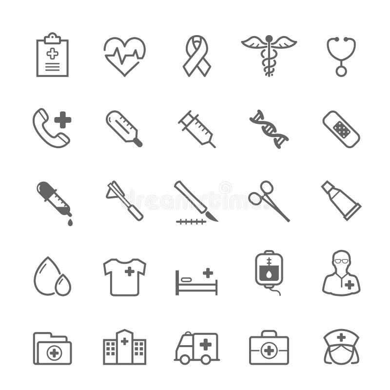 Set konturu uderzenia Medyczna ikona ilustracja wektor