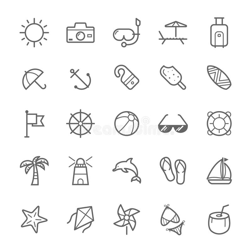 Set konturu uderzenia plaży ikona royalty ilustracja