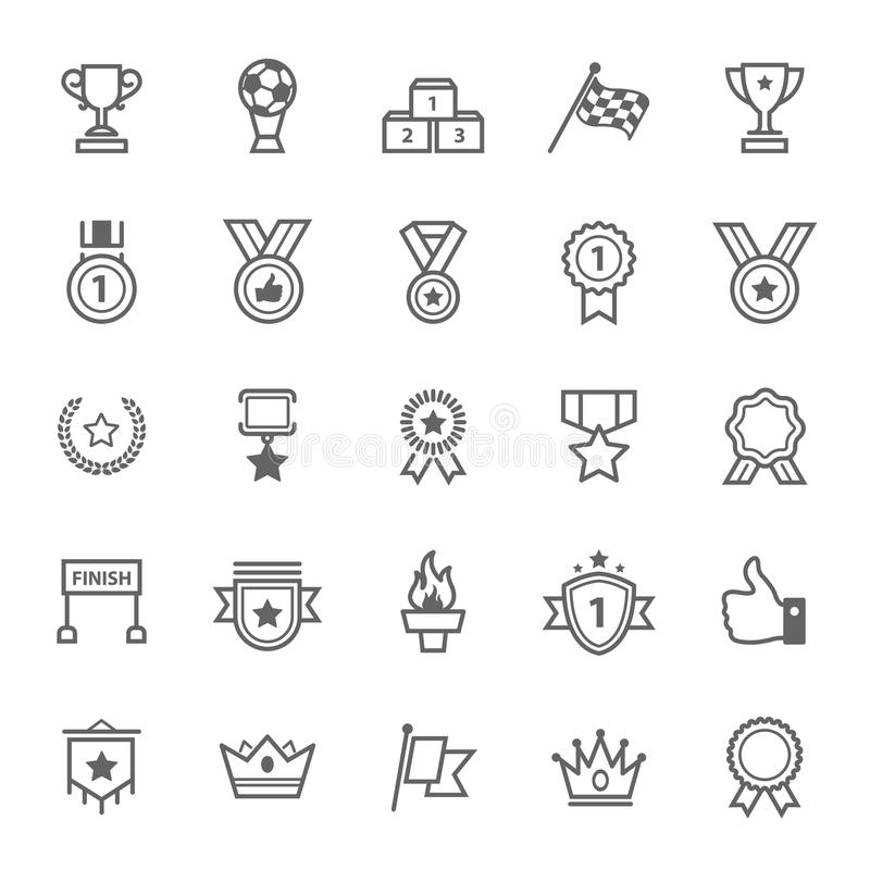 Set konturu uderzenia trofeum i nagrody ikona royalty ilustracja