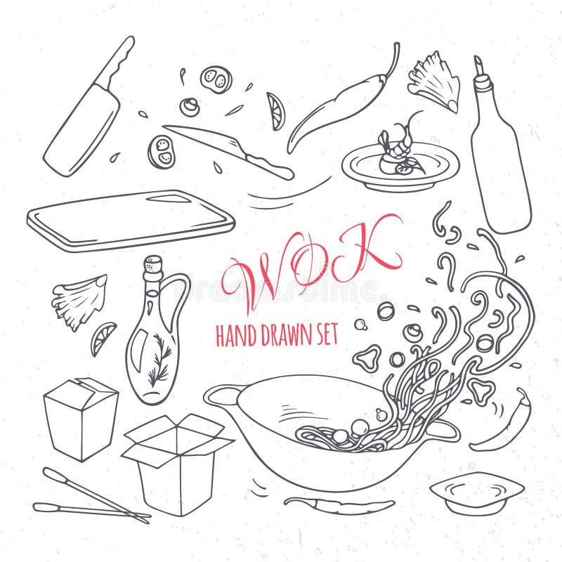 Set konturu wok restauraci ręka rysujący elementy Doodle azjata jedzenie royalty ilustracja