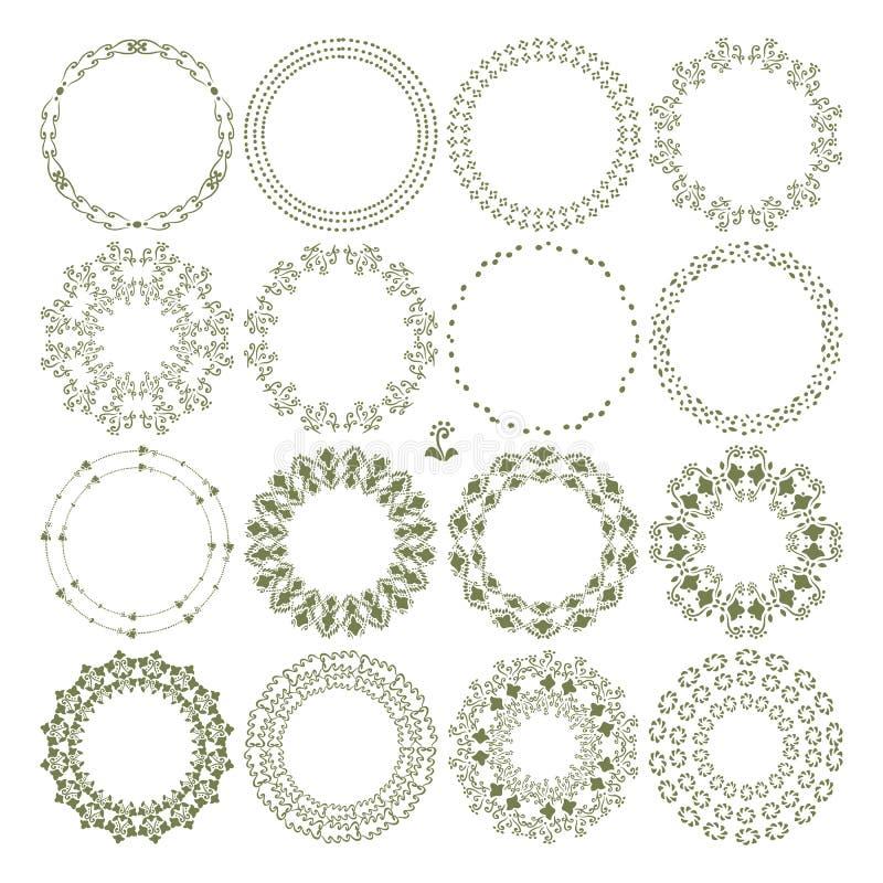 Set, kontury kwiaty, liście, kropka przedmiotów wektorowy isolat, i royalty ilustracja