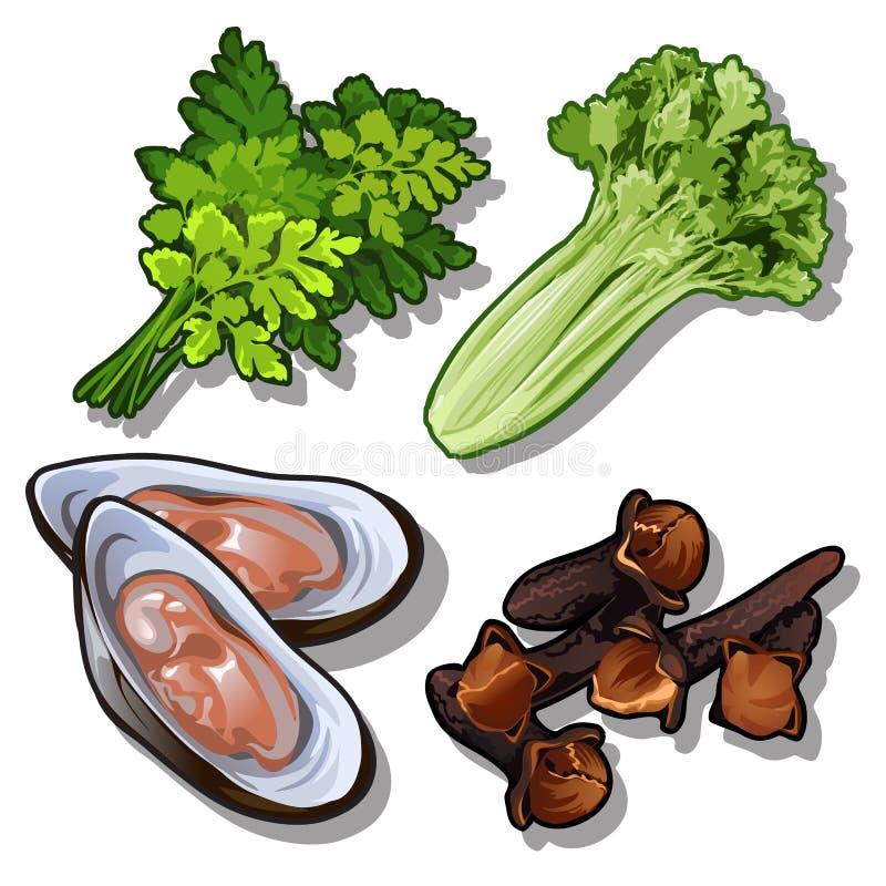 Set koper, sałatka, ostrygi i goździk, Kolekcja dobrzy i zdrowi produkty Wektorowy jedzenie ilustracja wektor