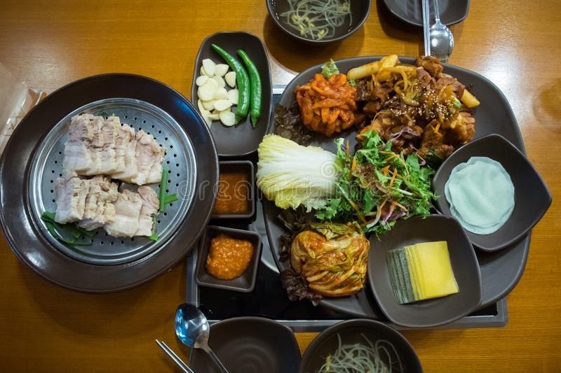 set of korea food in korea restaurant. royalty free stock images