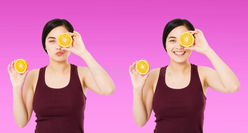 Set korean,asian woman holding pieces of oranges isolated on purple background, skin care cosmetic concept, copy space,banner stock photo