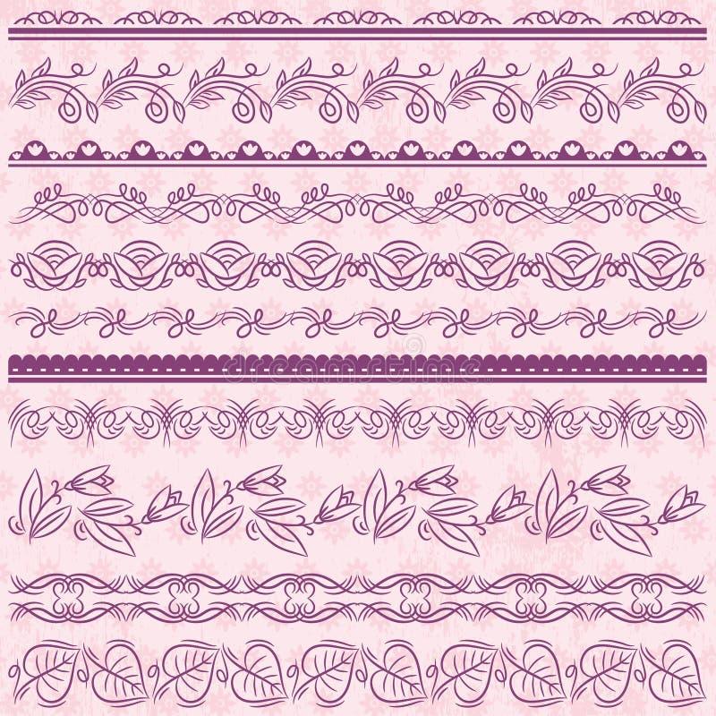 Set Koronkowy papier z kwiatem nad różowym backround, wektor ilustracji