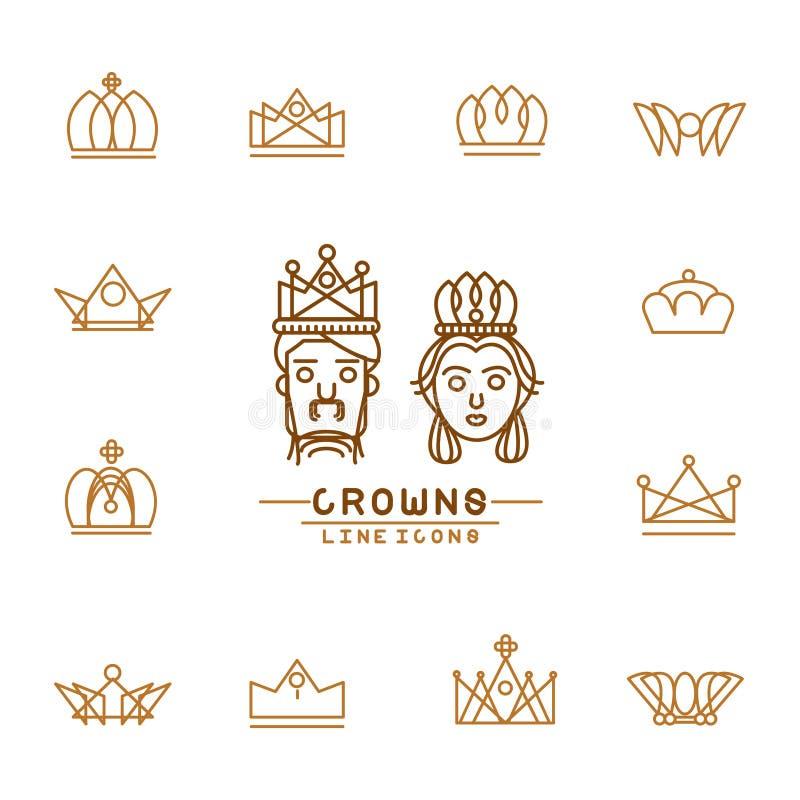 Set korony linii ikony ilustracja wektor