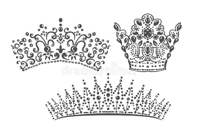 Set korony matrycują adamaszkowych projektów elementy wektorowych ilustracji