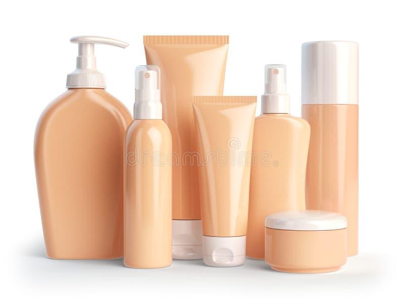 Set kosmetische Produkte Kosmetische Reihe der unterschiedlichen Tageszeitung lizenzfreie abbildung