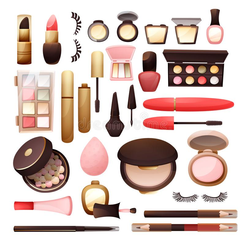 Set kosmetyki w mieszkanie stylu wektoru ilustracji royalty ilustracja