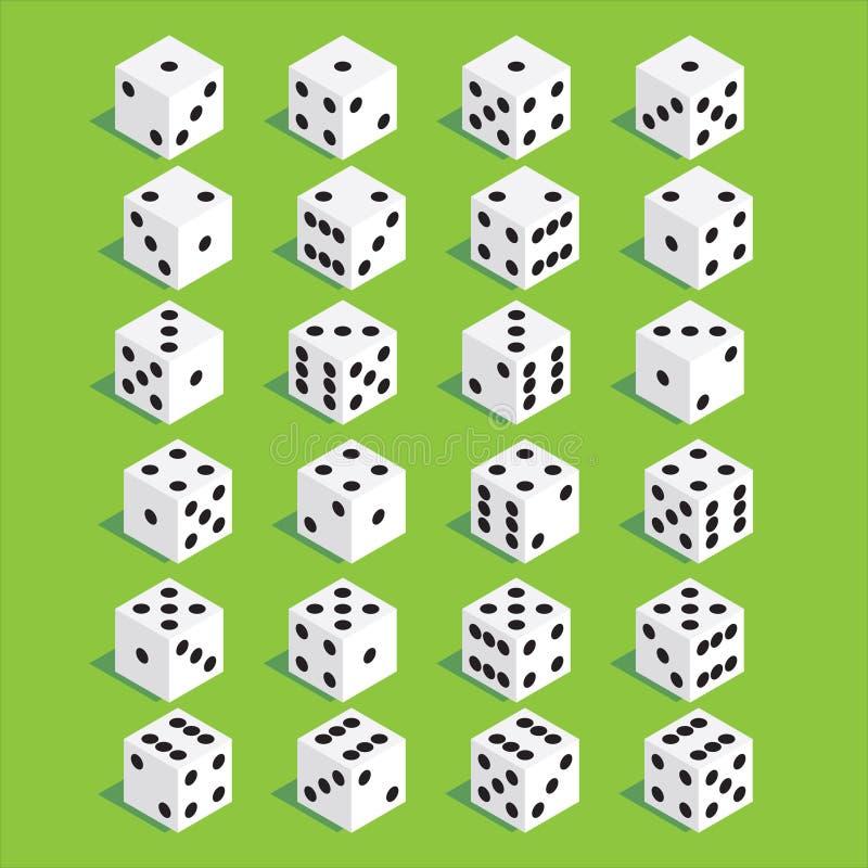Set kostka do gry Isometric kostka do gry Dwadzieścia cztery wariant straty kostka do gry fotografia royalty free