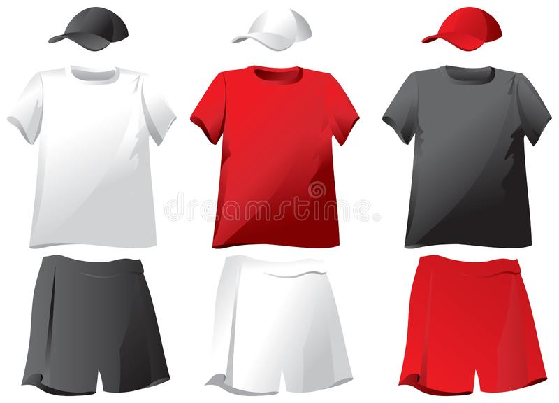 Set koszulki, skróty, baseball nakrętki wektor royalty ilustracja