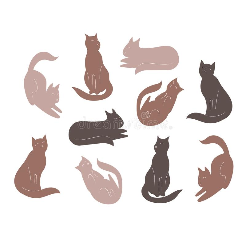 Set kotów charaktery Śliczne ikony dla projekta również zwrócić corel ilustracji wektora ilustracji