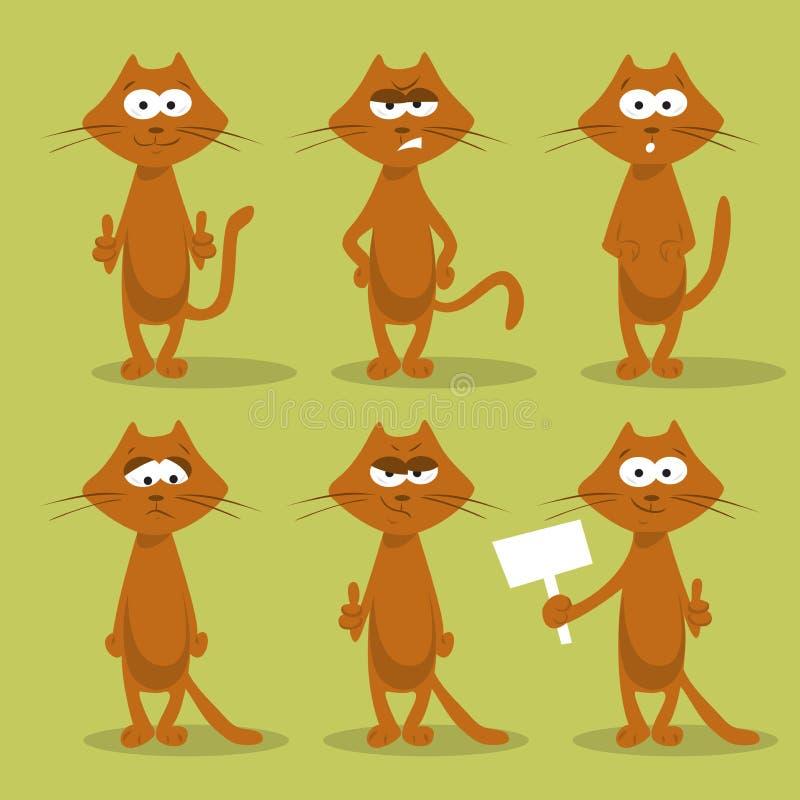 Set koty z emocjami ilustracja wektor