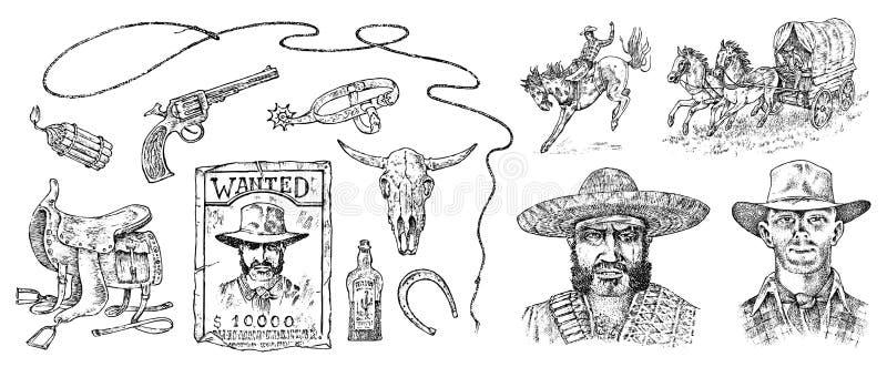 Set kowboje Zachodnie ikony, strażnik teksasu equipments Dziki Zachodni rocznik Grawerujący ręka rysujący nakreślenie Portret a ilustracji
