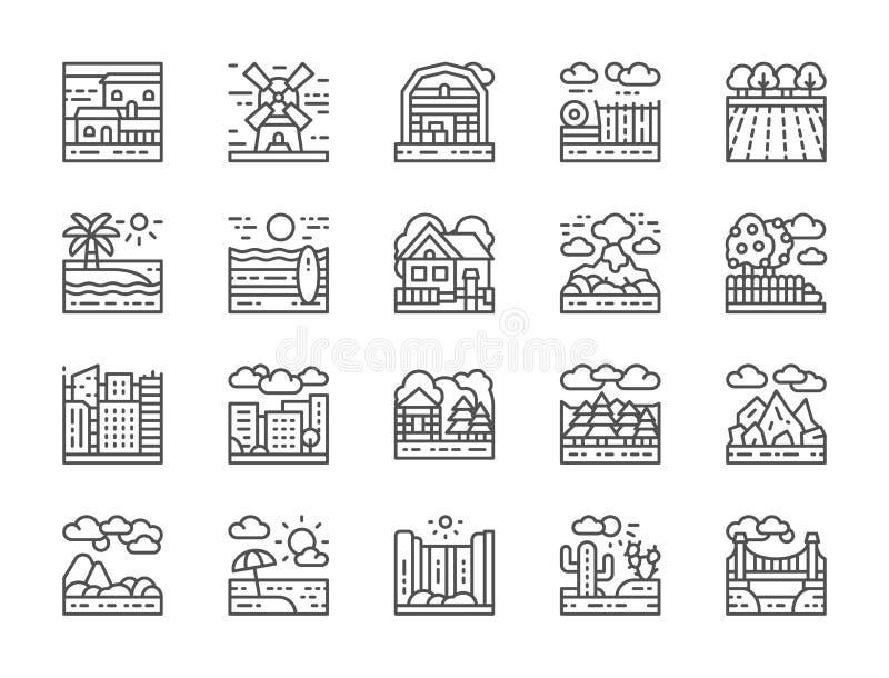 Set krajobraz linii ikony Most, pustynia, siklawa, plaża, las i więcej, royalty ilustracja