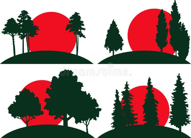 Set krajobrazy z drzewami i risisng słońcem ilustracji