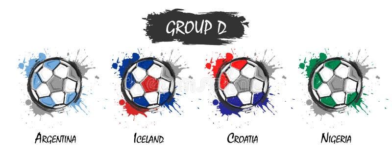Set krajowy drużyny futbolowej grupy d Realistyczna akwareli sztuki farba z pobrudzonym pluśnięcie kolorem Płaski projekt Wektor  royalty ilustracja